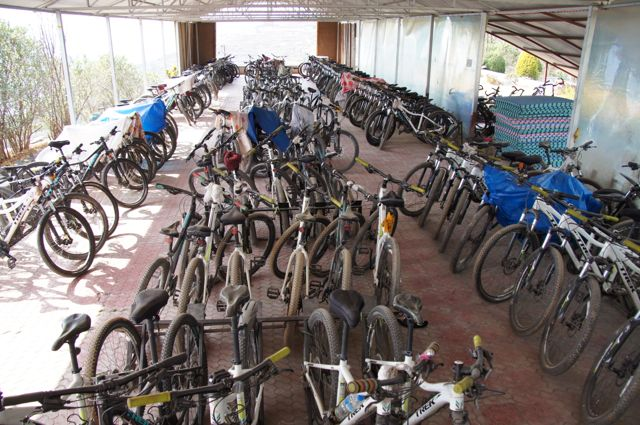Drupka nuns bike garage tent! They train on long rides down the mountain into Kathmandu.