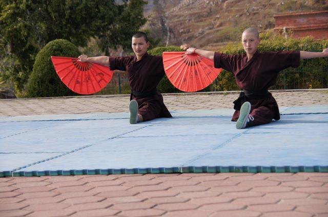 Drukpa nuns practicing Kung Fu