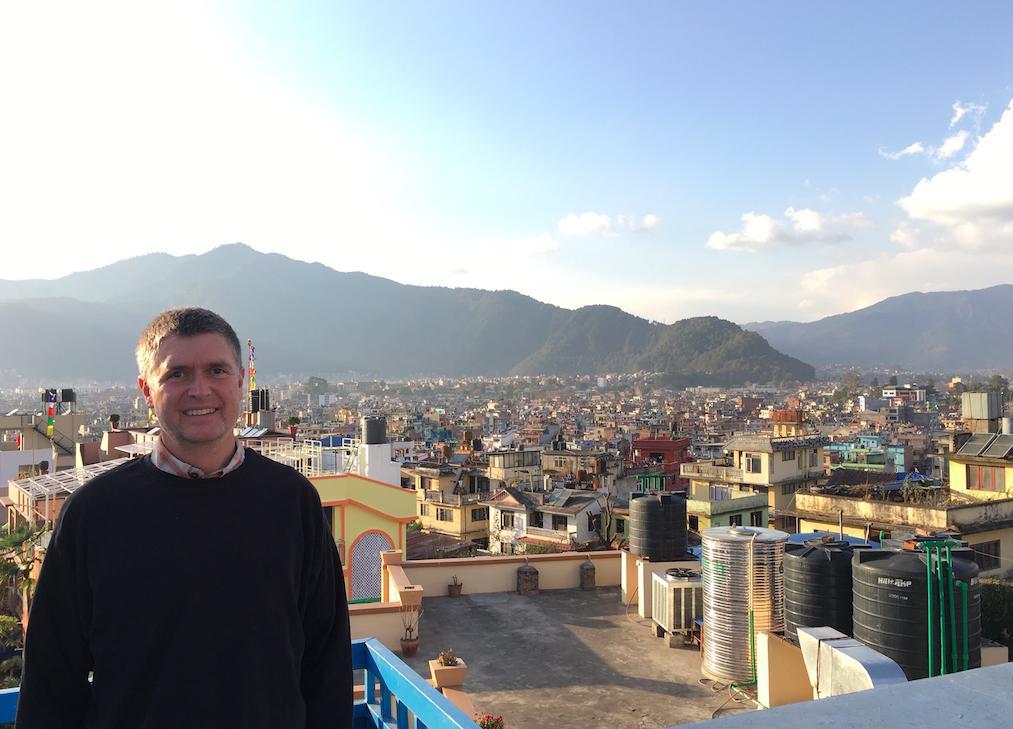 On the hotel roof in Kathmandu.