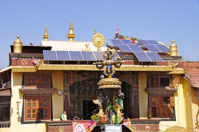 Solar panels at Temple by Stupa.