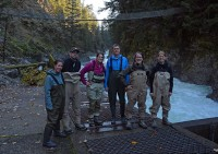 Staff wearing waders at the Little White Salmon