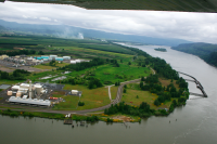 Port Westward, downstream. Aerial photo by Columbia Riverkeeper with aerial support from LightHawk.