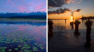 UPPER COLUMBIA: Purcell Mountains reflect in calm water near Spillimacheen, BC (left); ESTUARY: Skamokawa Landing on Lower Columbia, WA (right). Photo credit: Peter Marbach.