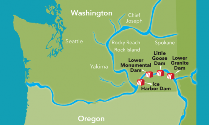 Map of the Lower Snake River dams