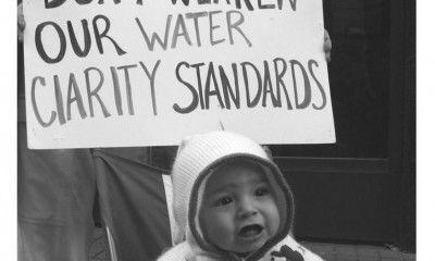 don't weaken our water quality standards, photo of baby at rally