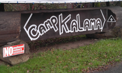 "Camp Kalama with ""No Methanol"" signs"