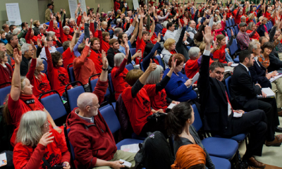 Red-shirted oil terminal opponents packed Gaiser Hall in October 2013. Join us in the same room on April 5, 2018 to celebrate grassroots victories over massive oil and coal projects.