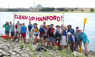 Columbia Riverkeeper Paddle Trip on the Hanford Reach on July 26, 2015. Riverkeeper hosts this paddle trip biannually as an opportunity to educate the public about Hanford's cleanup. Photo by Sara Quinn