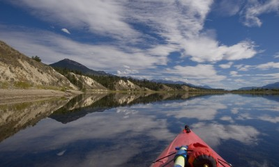 Kayaking the wild and free Columbia near Invermere, British Columbia (photo by Peter Marbach)