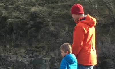 Brett VandenHeuvel and his son, Gus, at the Klickitat River.