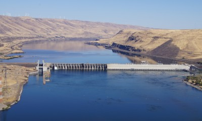 Dams like this one on the Snake River create slow moving water that heats up in the summer.